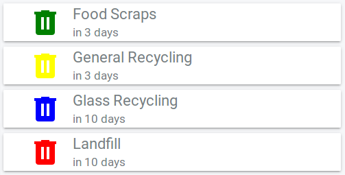 home assistant rubbish collection